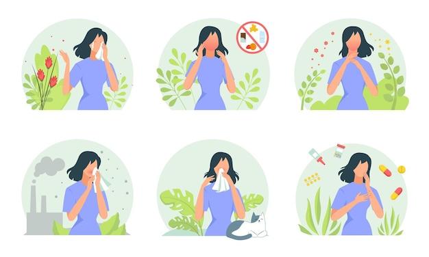 Set di manifestazioni allergiche