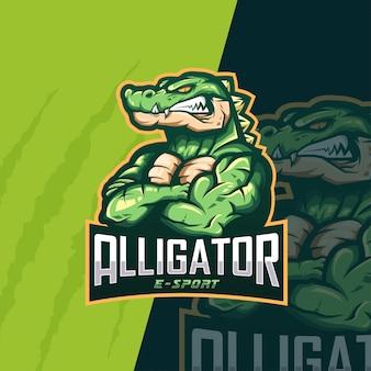 Logo esportatore di alligatore