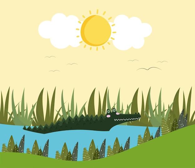 Alligatore nel lago