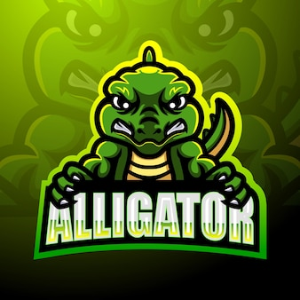 Alligatore mascotte esport logo design