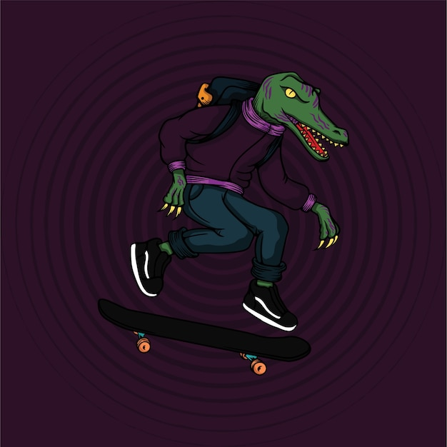 Mutante alligatore che gioca a skateboard