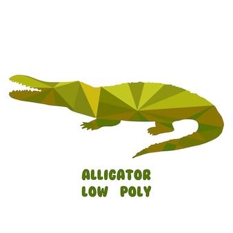Alligatore. illustrazione vettoriale poligonale isolato su sfondo bianco. poli basso.
