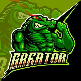 Alligatore forte arrabbiato, mascotte esports logo illustrazione vettoriale per giochi e streamer