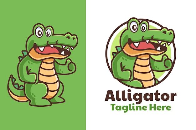 Alligatore pollice in alto design del logo del fumetto cartoon