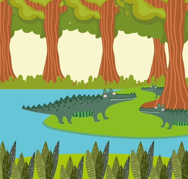 Alligatori lago e foresta