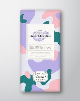 Forme astratte di etichette di cioccolato alle mandorle layout di design di packaging vettoriale con ombre realistiche moderno ...