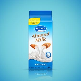 Illustrazione di progettazione di imballaggio del latte di mandorle