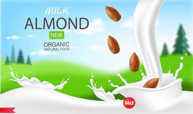 Latte di mandorle realistico, latte biologico, bellissimo sfondo, latte splash, nuovo prodotto