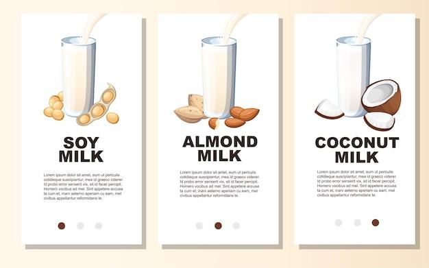 Latte di mandorle, latte di soia, latte di cocco, versando nel bicchiere. set di banner verticali