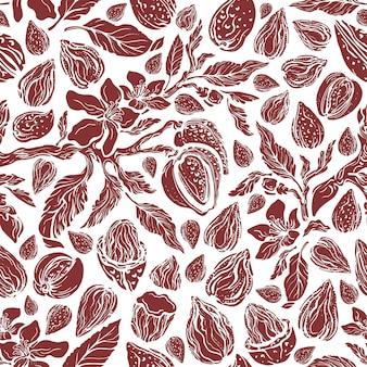 Reticolo senza giunte di struttura della mandorla stampa della natura di vettore disegnare a mano semi di noci biologiche da giardino