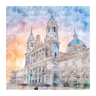Illustrazione disegnata a mano di schizzo dell'acquerello della cattedrale di almudena spagna