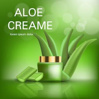 Fondo di concetto di crema di aloe. illustrazione realistica del fondo di concetto di vettore crema aloe per web design