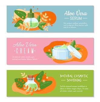 Crema di aloe vera, banner lenitivo cosmetico naturale e siero per sito web. concetto di etnoscienza del design.