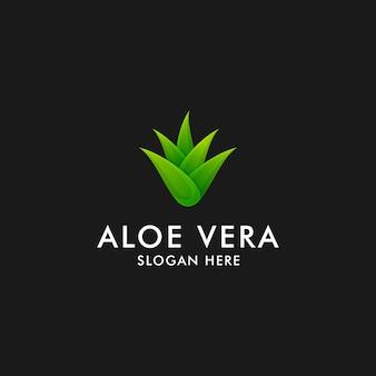 Disegno del logo di aloe vera. simbolo dell'icona della pianta di erbe