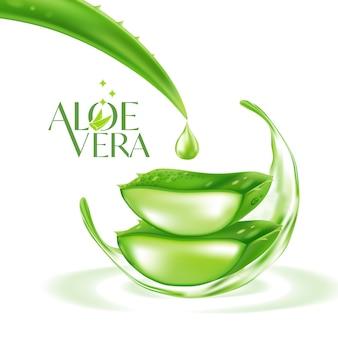 Cosmetico realistico per la cura della pelle con piante di aloe vera