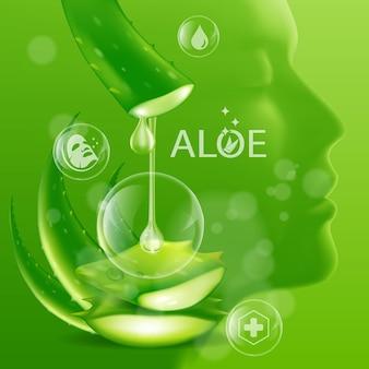 Cosmetico per la cura della pelle vegetale realistico di aloe vera