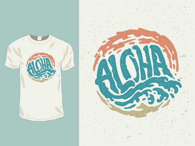 Design t-shirt con parole hawaiane aloha