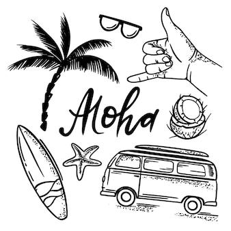 Insieme dell'illustrazione disegnata a mano monocromatica di vacanze estive di aloha