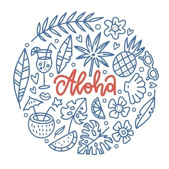 Modello di banner di paradiso tropicale aloha con scritta parola in forma rotonda di elementi tropicali vacanza hawaiana
