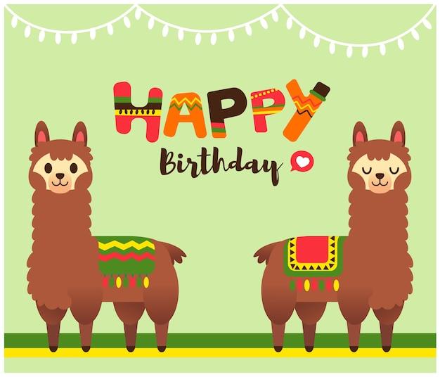 Carattere di alpaca con testo di buon compleanno