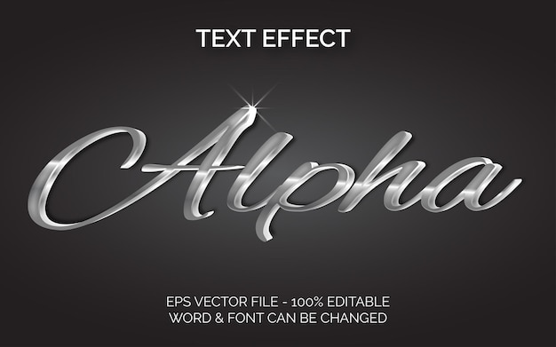 Effetto testo alfa stile argento effetto testo modificabile
