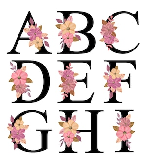 Alfabeto lettere maiuscole design a - i con bouquet di fiori rosa disegnati a mano