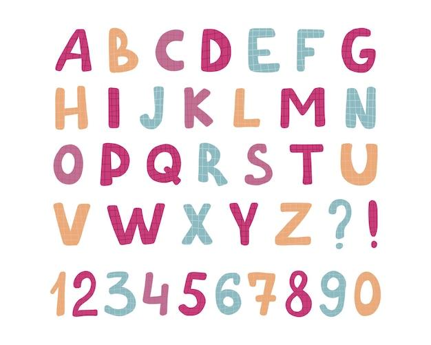 Carattere alfabeto per bambini lettere di cartoni animati per bambini divertenti per la scuola materna alfabeto carino a colori