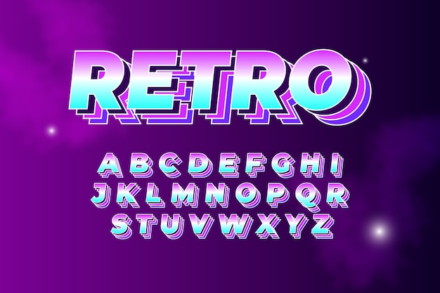 Collezione di alfabeto in tema retrò 3d