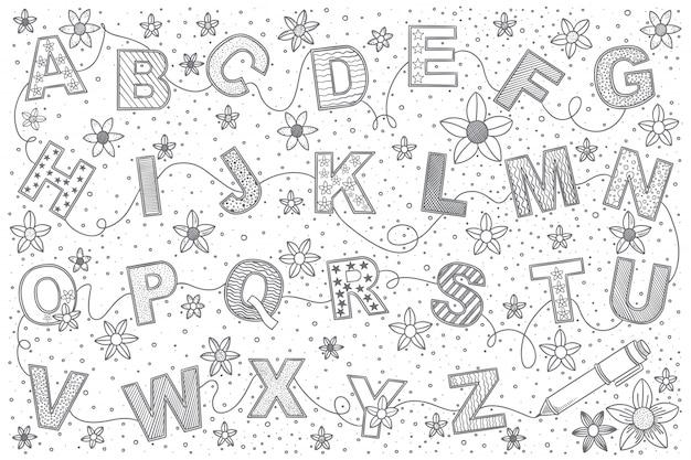 Insieme di doodle di alfabeto