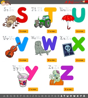 Set di alfabeto educativo dalla s alla z.