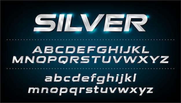 Carattere alfabeto lettere in corsivo con effetto metallico e argento. abc, lettere minuscole e maiuscole