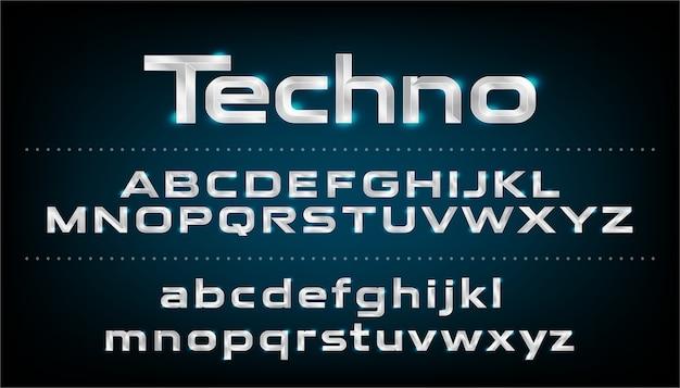 Carattere alfabeto lettere metalliche effetto argento. abc, lettere minuscole e maiuscole