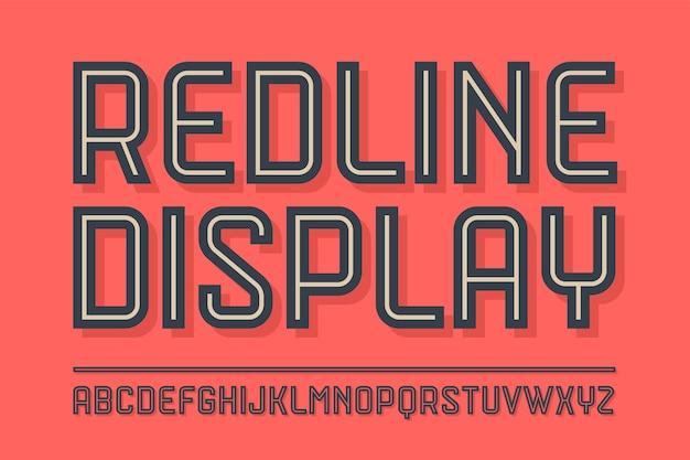 Alfabeto e carattere red line display con ombra. lettere maiuscole in grassetto, normali e medie. carattere in linea industriale alla moda per design creativo, pubblicità, tipografia.