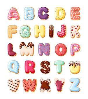 Alfabeto per set di pasticcini dolci. carattere di caramelle colorate fatto da ciambelle di prodotti da forno con crema deserto per bambini torte decorative lettere numeri vector cartoon delizioso