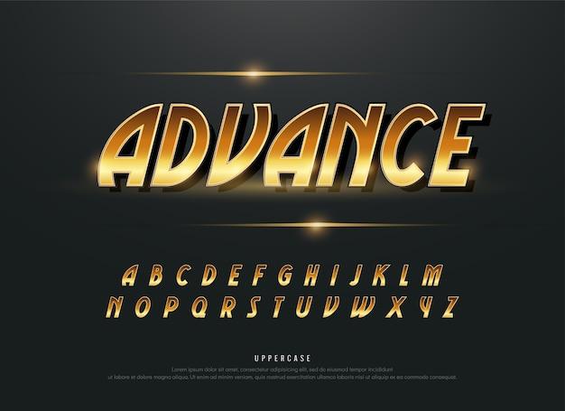 Alfabeto oro metallico e disegni di effetto. tipografia di lettere dorate esclusive
