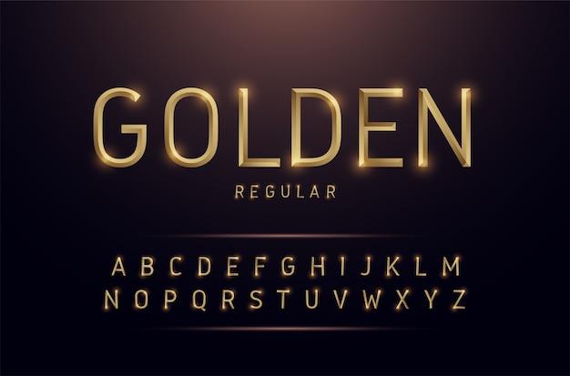 Alfabeto oro metallico e disegni di effetto