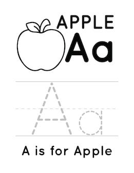 Foglio di lavoro per la pratica della scrittura a mano dell'alfabeto per bambini