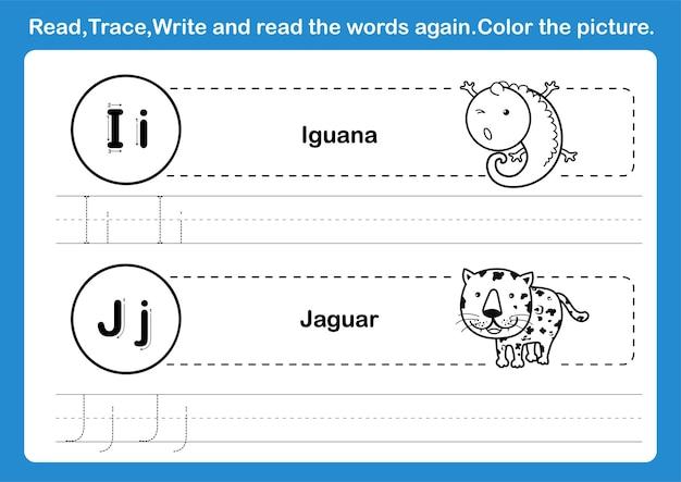 Esercizio di alfabeto ij con vocabolario dei cartoni animati per l'illustrazione del libro da colorare