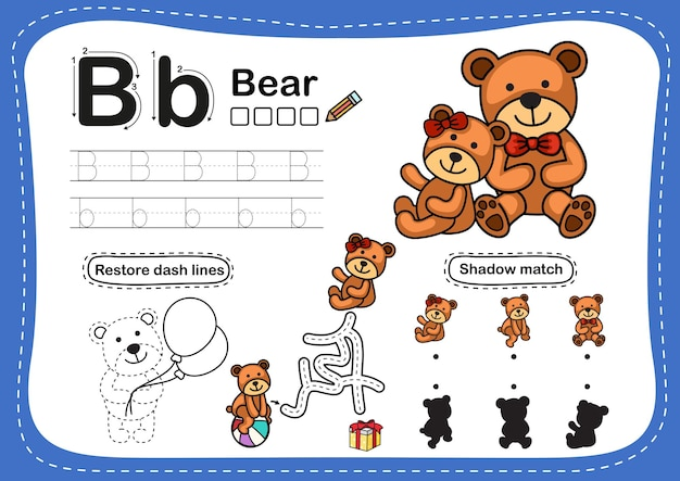 Alfabeto lettera b-orso esercizio con il vocabolario dei cartoni animati