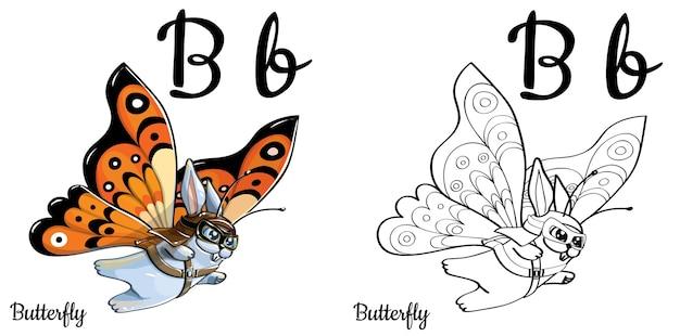 Alfabeto lettera b per l'educazione dei bambini con coniglietto divertente cartone animato. isolato. imparare a leggere. pagina da colorare.