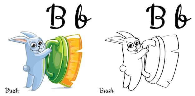 Alfabeto lettera b per l'educazione dei bambini con coniglietto divertente cartone animato e spazzola per lavare. isolato. imparare a leggere. pagina da colorare.