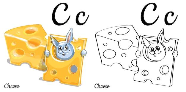 Alfabeto lettera c per l'educazione dei bambini con coniglietto divertente cartone animato con formaggio. isolato. imparare a leggere. pagina da colorare.