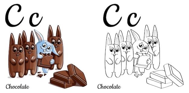 Alfabeto lettera c per l'educazione dei bambini con coniglietto divertente cartone animato con il cioccolato. isolato. imparare a leggere. pagina da colorare.