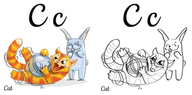 Lettera c dell'alfabeto per l'educazione dei bambini con gatto e coniglio divertenti del fumetto. isolato. imparare a leggere. pagina da colorare.
