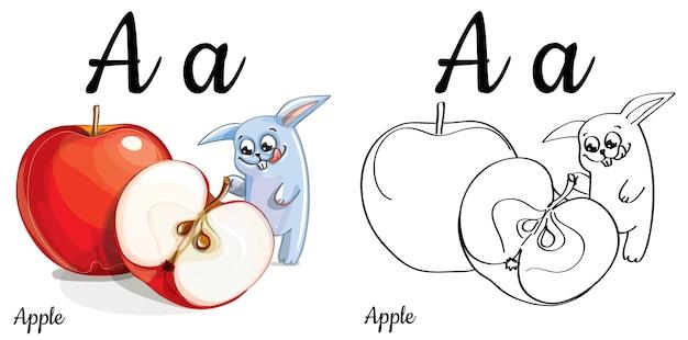 Lettera di alfabeto a per l'istruzione dei bambini con coniglietto divertente cartone animato e mela. isolato. imparare a leggere. pagina da colorare.