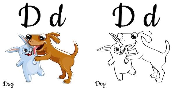 Lettera d dell'alfabeto per l'educazione dei bambini con cane e coniglietto divertenti del fumetto. isolato. imparare a leggere. pagina da colorare.