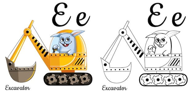Lettera e dell'alfabeto per l'educazione dei bambini con escavatore e coniglio divertenti del fumetto. isolato. imparare a leggere. pagina da colorare.