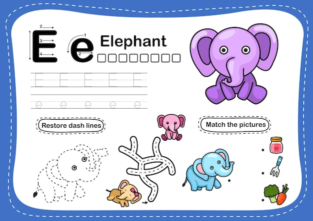 Alfabeto lettera e-elefante esercizio con il vocabolario dei cartoni animati