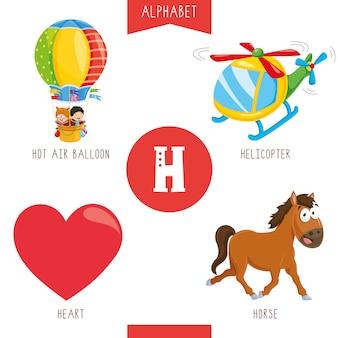 Alfabeto lettera h e immagini
