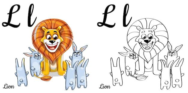 Lettera l dell'alfabeto per l'educazione dei bambini con leone e coniglio divertenti del fumetto. isolato. imparare a leggere. pagina da colorare.